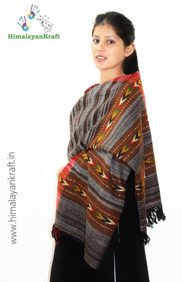 HimalayanKraft Handwoven Pure Wool Kullu Handloom Stole-www.himalayankraft.in