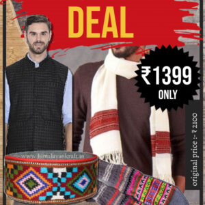 Combo For Men's With Jacket, Muffler, Pahadi Topi & Hand Knitted Socks