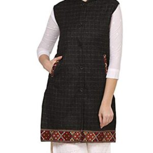 Women Winter Long Jacket with Beautiful Kullu Patti-Black