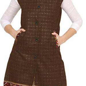Women Winter Long Jacket with Beautiful Kullu Patti – Brown